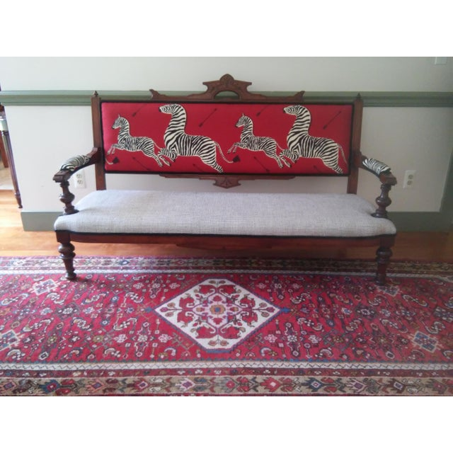 Completely refurbished fabulous Eastlake period settee with all new and best quality webbing and high density foams....