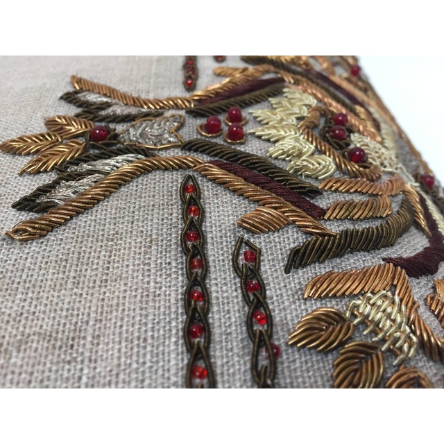 Islamic Accent Pillow Embroidered With Moorish Metallic Threads Design For Sale - Image 3 of 10