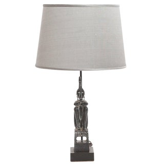 Cerused Oak and Silk Figural 1950s Lamp With Shade For Sale