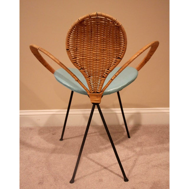 Rattan ribbon armchair with turquoise seat and iron legs. Great design inspired by the mid-century furniture style, USA...