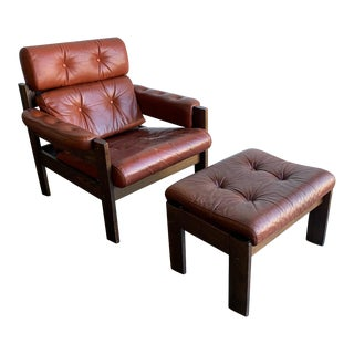 1970s Aged Leather Lounge Chair and Ottoman For Sale