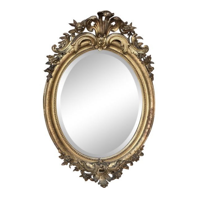 Gilded Mirror, 19th Century French Louis XVI Oval For Sale