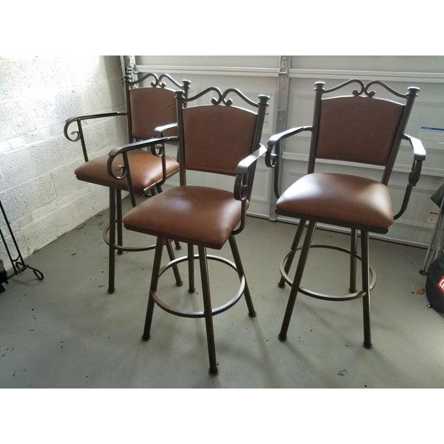 Swivel Leather & Metal Bar Stools - Set of 3 - Image 2 of 10