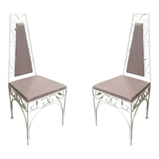 Mid-Century Modernist High Back Chair With Scrolling Pattern - Set of 2 For Sale