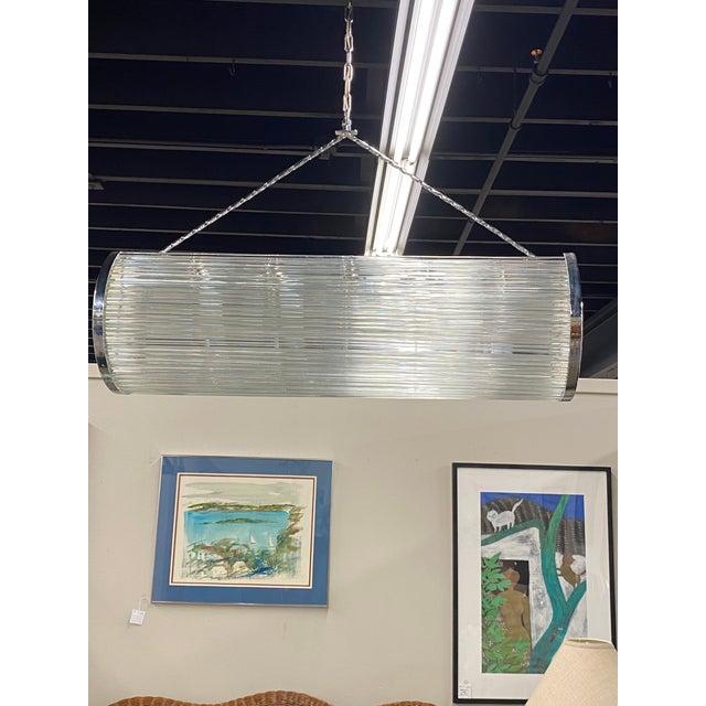 Enormous Heavy 1960's Art Deco Glass Chrome Ceiling Light Fixture Glass Rod For Sale - Image 9 of 9