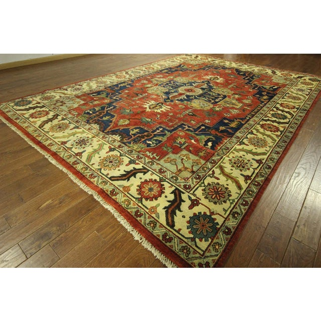 "Red & Ivory Heriz Serapi Knotted Rug - 9'10"" x 14' - Image 3 of 10"