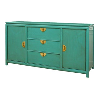 Fabulous Vintage Buffet by Thomasville in Turquoise Lacquer For Sale