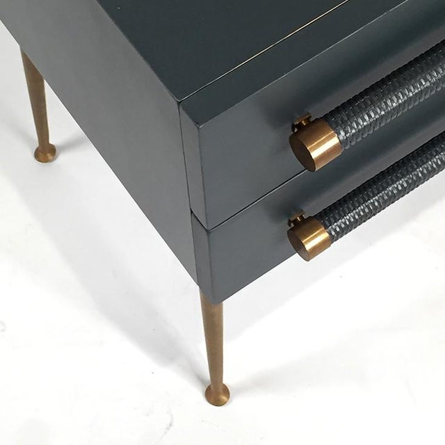 2-Drawer Nightstand with Wicker Pull - Image 3 of 5