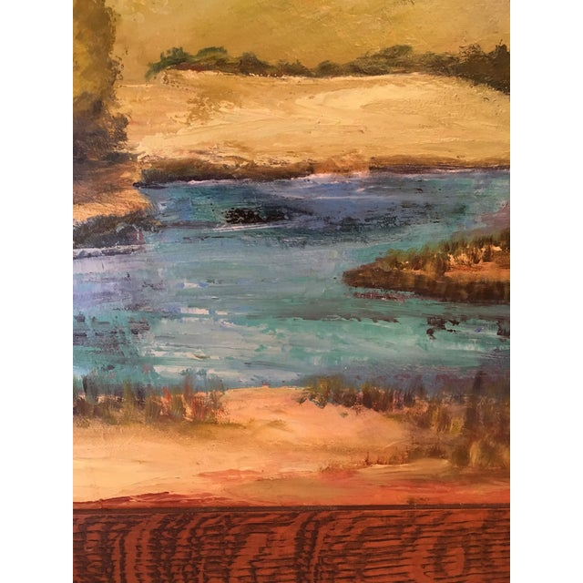 Lodge Oil on Canvas of a Moose on a Sky Blue Lake For Sale - Image 3 of 7