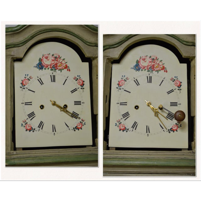 18th Century French Louis XV Period Hand Painted Long Case Clock For Sale In Philadelphia - Image 6 of 13
