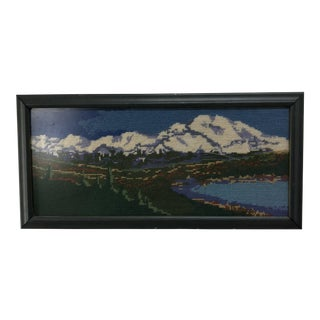 Vintage Mountain & Lake Scene Crewel Embroidered Art For Sale