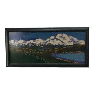 Vintage Mountain & Lake Scene Crewel Embroidered Art