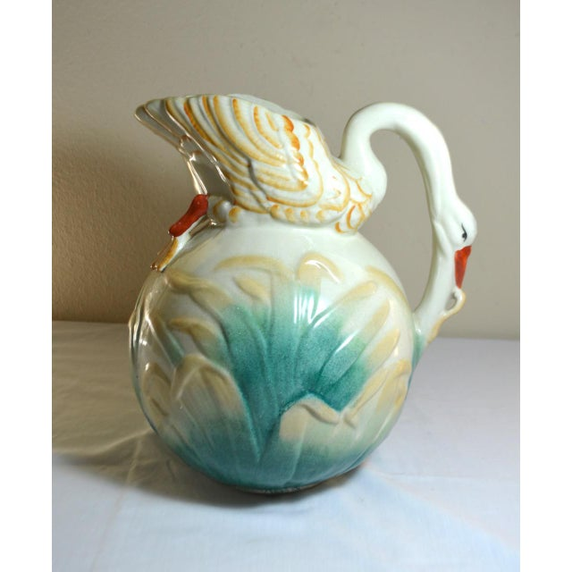 Vintage Large Majolica Swan Shaped Pitcher For Sale - Image 11 of 11