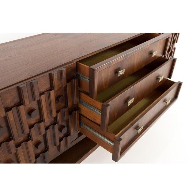 20th Century Brutalist Pedestal Lowboy Dresser For Sale - Image 9 of 12