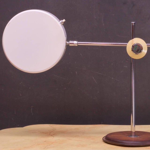 1960s Vintage Mid-Century Leather Chrome Articulate Desk Lamp Style of French Adnet For Sale - Image 5 of 7