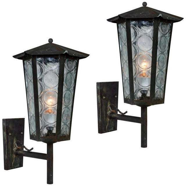 1950s Large Scandinavian Outdoor Wall Lights in Patinated Copper and Glass - a Pair For Sale - Image 13 of 13