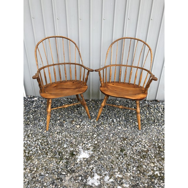 Modern Bench Made Hoop Back Windsor Armchairs- A Pair For Sale - Image 11 of 11