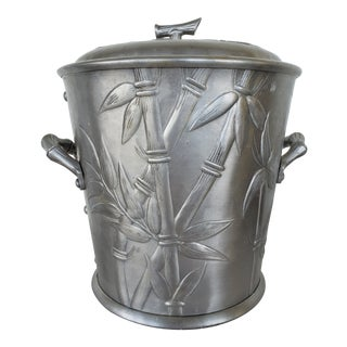 Art Deco Everlast Forged Bamboo Motif Aluminum Ice Bucket For Sale