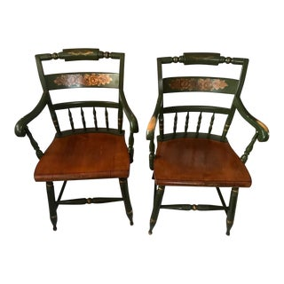 L. Hitchcock Solid Maple Wood Stenciled Hunter Green Arm Chairs, 1960s For Sale