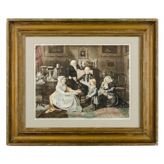 "Antique ""The Adoption"" Print on Silk by Georg Waldmuller For Sale"