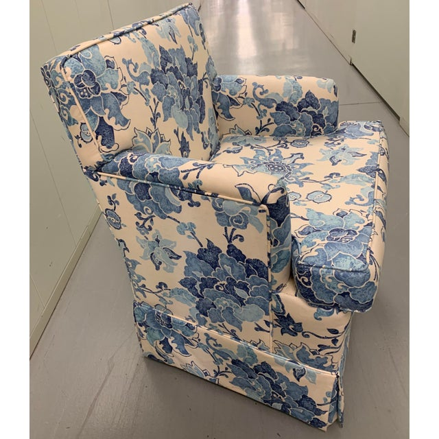 Blue & Off White Upholstered Armchair For Sale In New York - Image 6 of 8