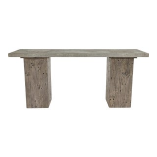 Salvaged Pine Block Console Table For Sale