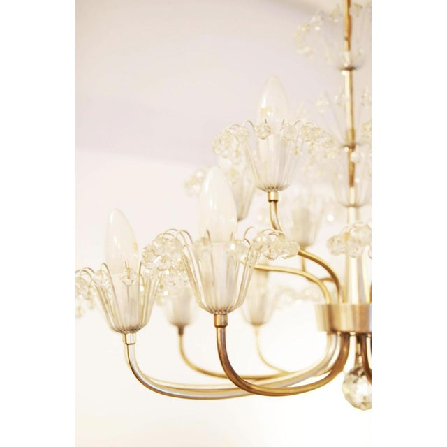 Brass Large Mid Century Chandelier by Emil Stejnar for Rupert Nikoll For Sale - Image 7 of 9