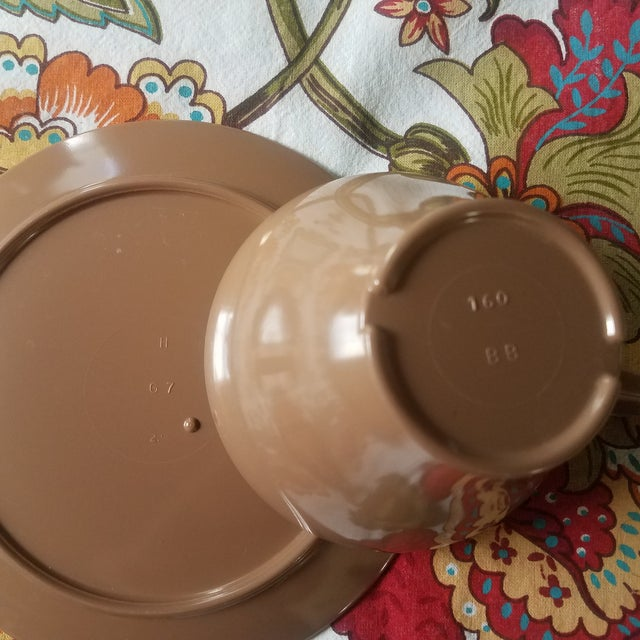 Brown Melamine Cups and Saucers - Set of 4 For Sale - Image 6 of 8