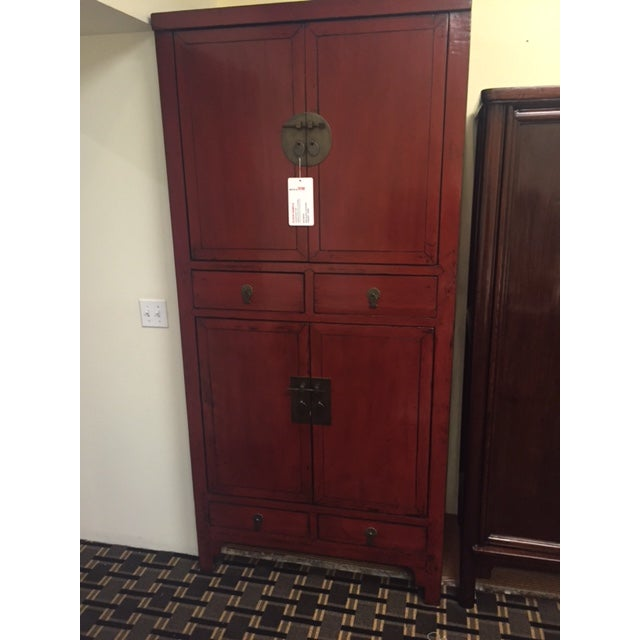 McGuire Asian Antiquity Red Black Lacquer Cabinet - Image 2 of 9