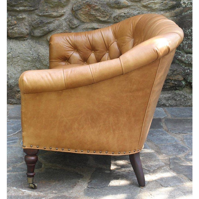Edwardian Edwardian Style Buttoned Back Leather Sofa For Sale - Image 3 of 8