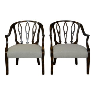 Late 20th Century Faux-Finish Side Chairs- A Pair For Sale