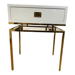 Hollywood Regency White Lacquer & Brass Side Table For Sale