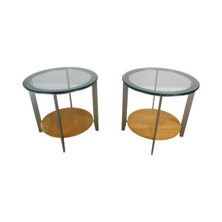 Modernistic Pair Brushed Metal Round Glass Top Side Tables For Sale