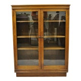 Image of Antique Walnut Two Glass Door Small Cabinet For Sale