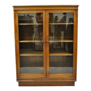 Antique Walnut Two Glass Door Small Cabinet For Sale
