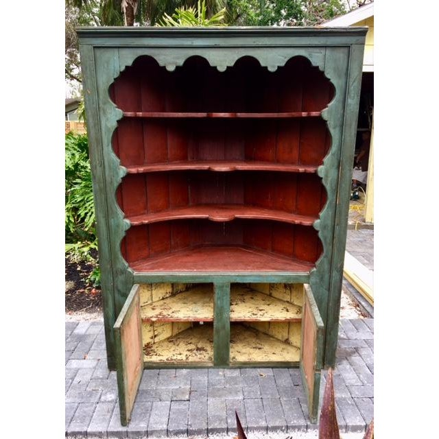 Shabby Chic 19th C Painted Corner Cupboard For Sale - Image 3 of 10