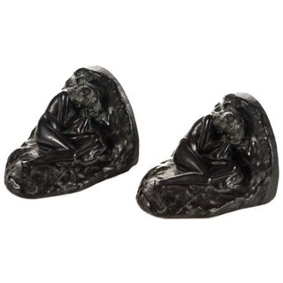 Sleeping Lady Carved Bookends - A Pair