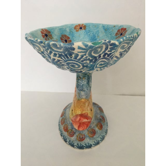 Italian Hand Painted Ceramic Shell Bowl Perched Atop Dolphin Tail For Sale - Image 4 of 10