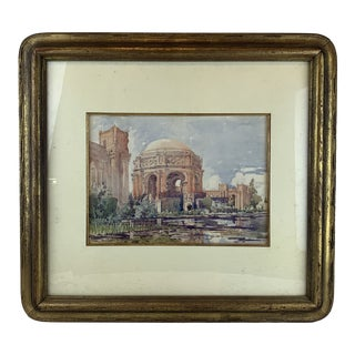 1920s Vintage Palace of Fine Arts San Francisco Framed Watercolor Painting For Sale