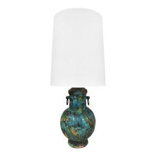 1960s Alvino Bagni Raymor Ceramic Jar Lamp in Blue Green Glaze For Sale