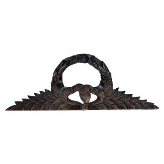 Antique French Carve Pediment Bow Crown