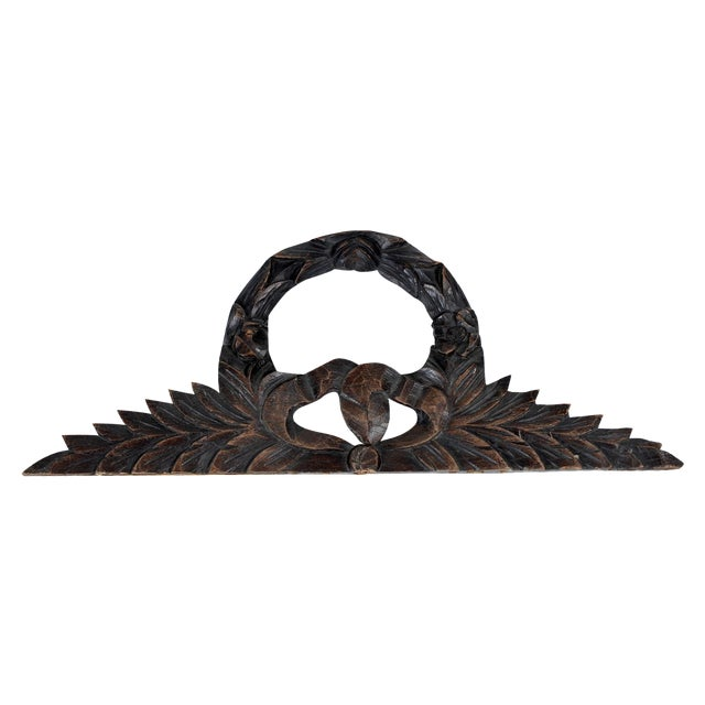 Antique French Carve Pediment Bow Crown For Sale