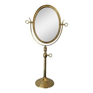 1970s Hollywood Regency Brass Oval Adjustable Vanity Mirror For Sale