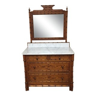 Late 19th Century Antique French Faux Bamboo Chest of Drawers With Mirror For Sale