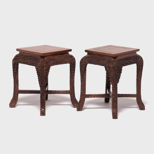 Early 20th Century Dragon Scale Tea Table and Stools For Sale - Image 9 of 11