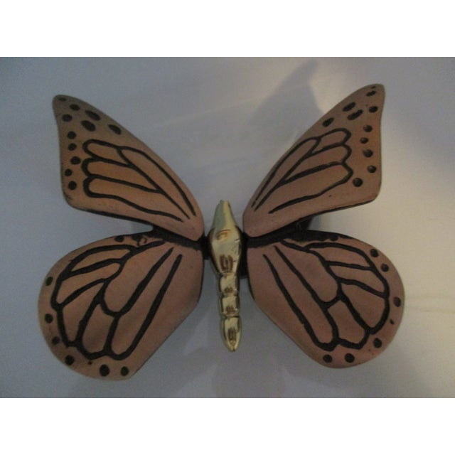 Bronze and Brass Monarch Butterfly Door Knocker For Sale - Image 9 of 11