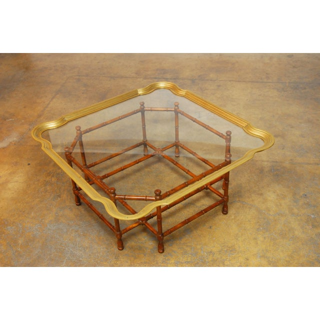 Baker Bamboo and Brass Tray Top Coffee Table - Image 4 of 10