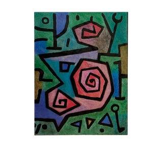 "Paul Klee Heroische Rosen 35.5"" X 27.5"" Poster 1987 Surrealism Multicolor, Green, Blue For Sale"