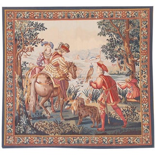 "17th Century Recreation French Hunting Scene Wool Textile Art - 6'10"" X 7'5"" For Sale"