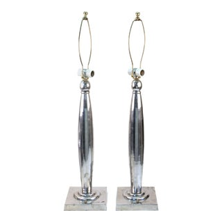 Postmodern Polished Aluminum Table Lamps - a Pair For Sale